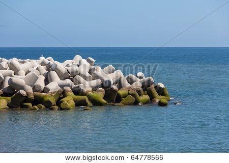 Breakwater Of Tetrapods At The Atlantic Coast Of Madeira, Portugal