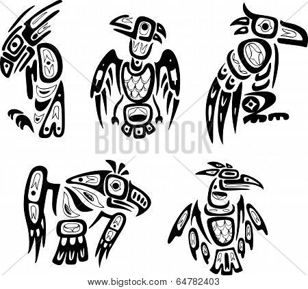 Native Indian Shoshone Tribal Drawings. Eagles
