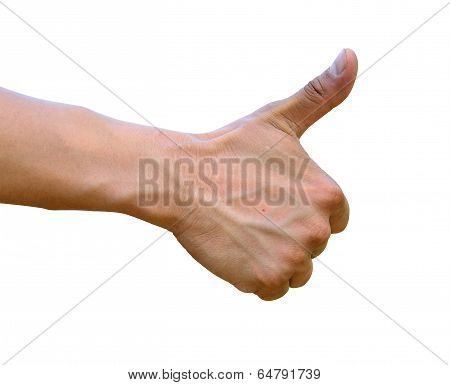 Thumb up hand with thumb up isolated on white background