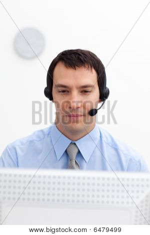 Serious Businessman With Headset On