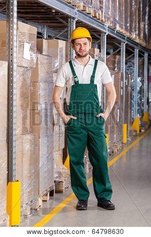 Warehouseman Standing In Storage