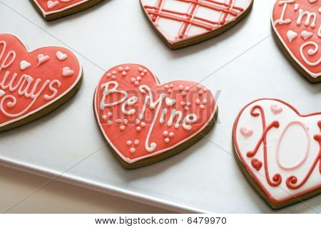 Valentine Cookies On Tray