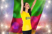 Excited football fan in brasil tshirt holding cameroon flag against large football stadium under purple sky poster