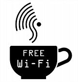 Monochrome Internet cafe free WiFi symbol isolated on white background poster
