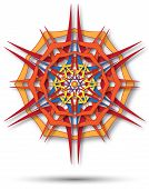 abstract fabric red and orangr mandala harsh sunlight poster