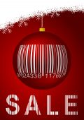 winter sale with glass ball and bar code poster