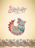 Easter card folk decorated bright pattern, chick and typography poster