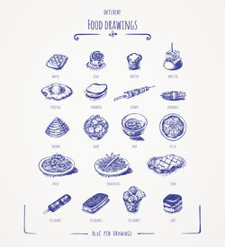 Different food drawings