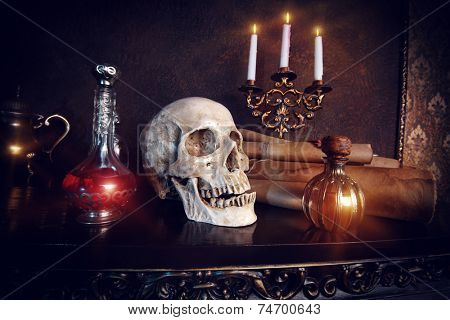 Medieval alchemist laboratory. Halloween. Fairy-tale interior. poster