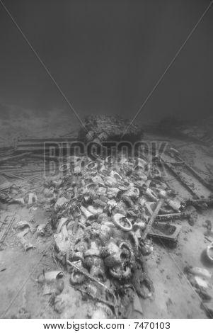 Ship Wreckage On The Ocean Floor.
