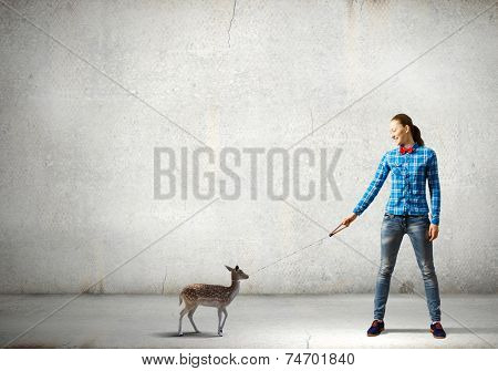 Young woman in casual holding deer on lead poster