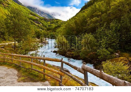 River near Briksdal glacier - Norway - nature and travel background
