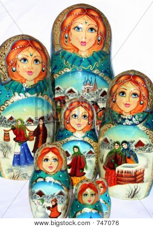 russian Nested dolls with winter sujet poster