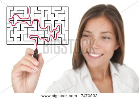 Businesswoman solving maze / labyrinth problem. Isolated on white. poster