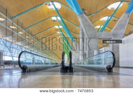 Walkway in departure hall - Airport Madrid Barajas - HDR image poster