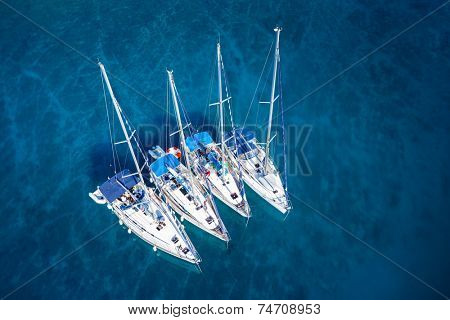 amazing view to yacht group and clear water - caribbean paradise