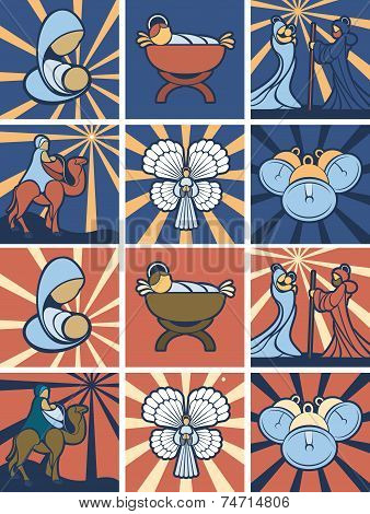 Nativity Icon Or Symbol Set