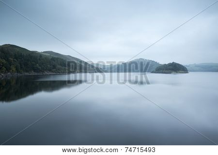 Moody Landscape Image Of Lake Pre-dawn In Autumn With Haunting Feel