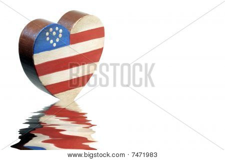 Patriotic Wooden Heart with Reflection