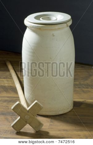 Antique Butter Churn And Dasher