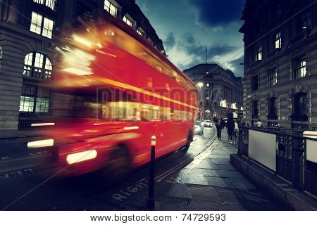 old bus on street of London