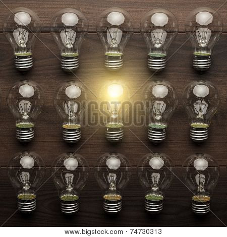 glowing bulb uniqueness concept