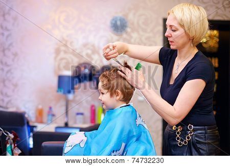 Little Client, Boy Having Haircut At Hair Salon