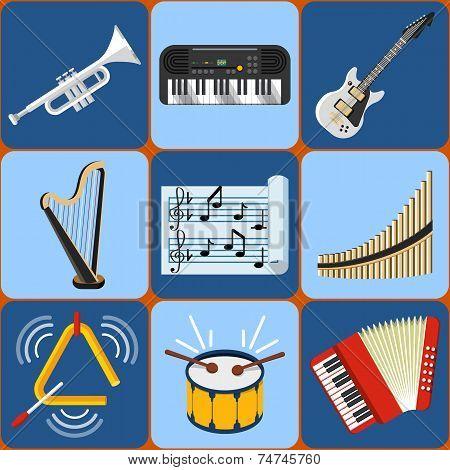 Setof  Flat Music Instruments