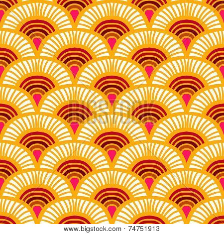 Orange Vintage hand drawn art deco pattern