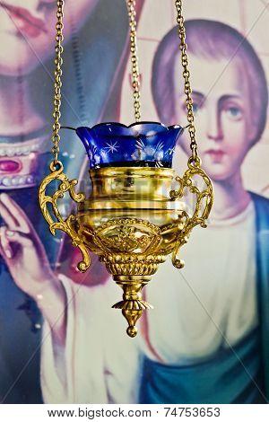 Alight icon lamp in Russian orthodox church