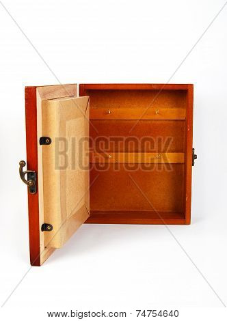 wooden key holder on a white background