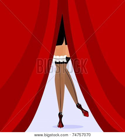 feet and red curtain
