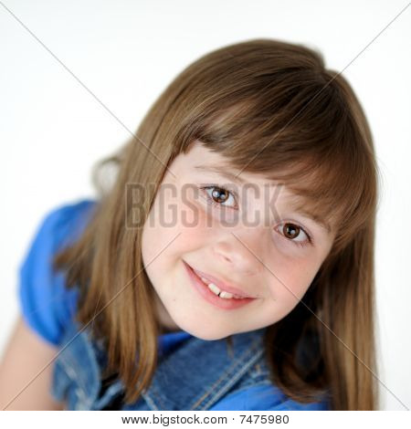 Young brunette girl with bangs