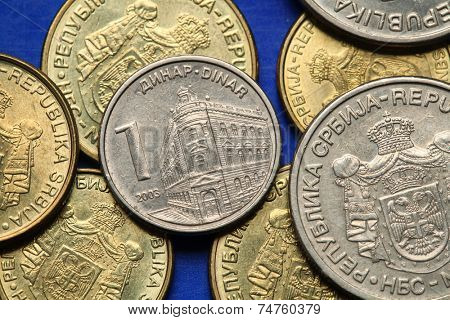 Coins of Serbia. The building of the National Bank of Serbia in Belgrade depicted in Serbian one dinar coin.