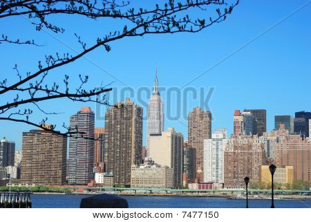 Skyline for Mid-town Manhattan in New York City in Spring