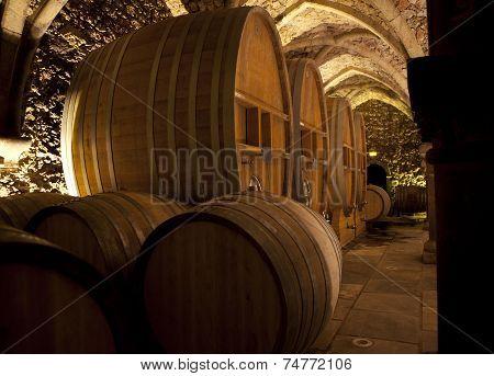 Wine Cellar With Big Barrels