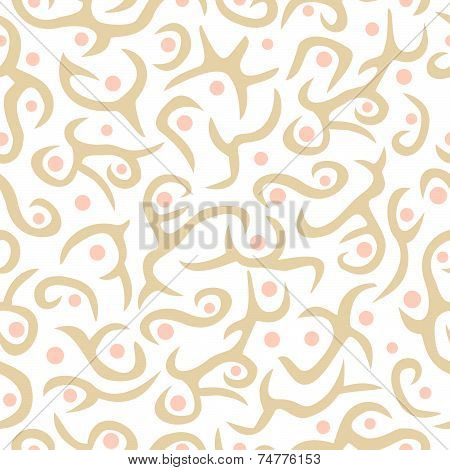 Seamless plant pattern in colours tan and pink