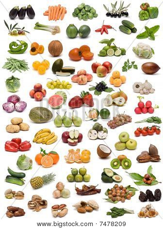 Fruits, vegetables, nuts and spices.