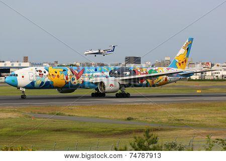 Ana All Nippon Airways Boeing 777 Pokemon Osaka Itami Airport