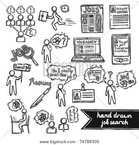 Job interview sketch set