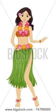 Illustration Featuring a Girl Dancing a Hawaiian Dance
