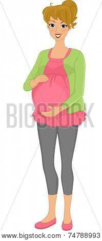 Illustration Featuring a Pregnant Caucasian