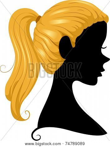 Illustration Featuring the Silhouette of a Girl Wearing a Ponytail