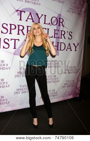 LOS ANGELES - OCT 25:  Katherine McNamara at the Taylor Spreitler's 21st Birthday Party at the CBS Radford Studios on October 25, 2014 in Studio City, CA