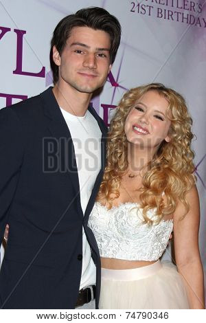 LOS ANGELES - OCT 25:  Kevin Fonteyne, Taylor Spreitler at the Taylor Spreitler's 21st Birthday Party at the CBS Radford Studios on October 25, 2014 in Studio City, CA