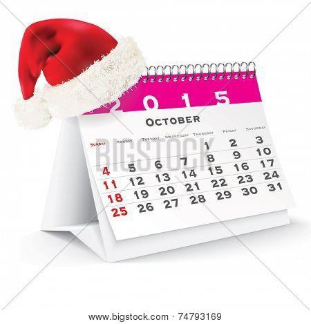 October 2015 desk calendar with Christmas hat - vector illustration poster