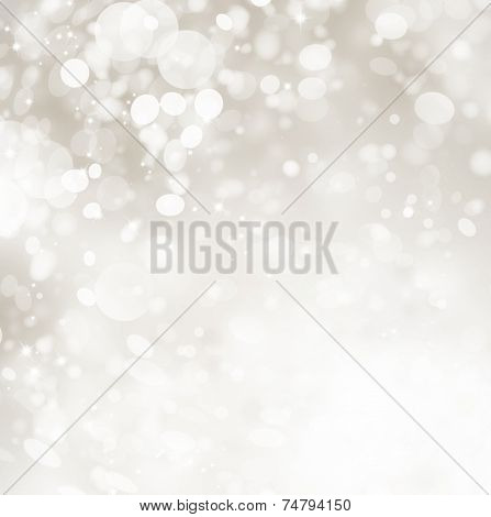 Christmas Background. Grey Holiday glowing Abstract Glitter Defocused Background With Blinking Stars and snow. Blurred Snowflakes Bokeh