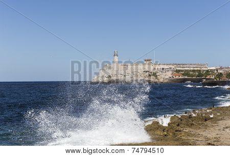 Waves hitting the Malecon in Havana