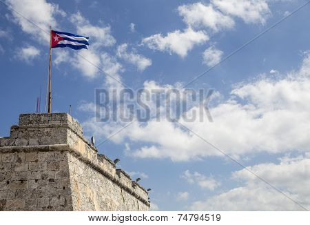 Cuban flag on the top of the Morro fortress
