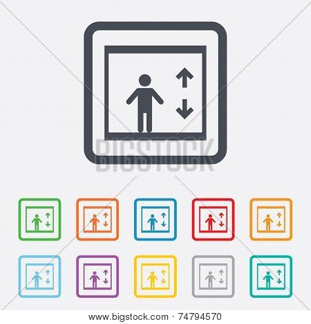 Elevator sign icon. Person symbol with up and down arrows. Round squares buttons with frame. Vector poster